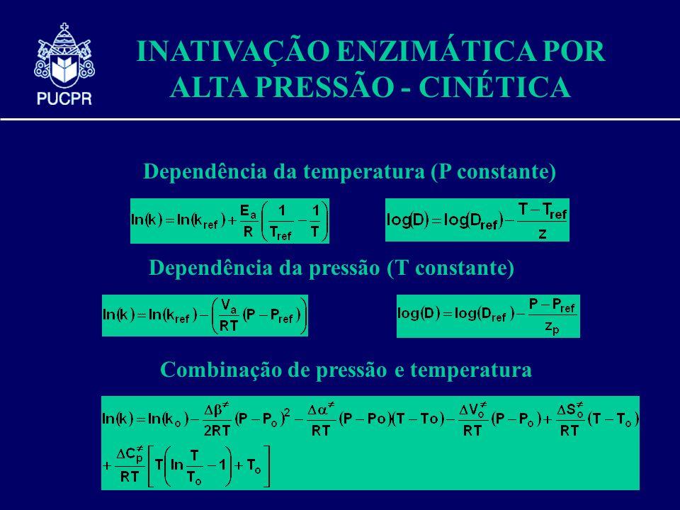 INATIVAÇÃO ENZIMÁTICA POR ALTA PRESSÃO - CINÉTICA Dependência da temperatura (P constante) Dependência da pressão (T constante) Combinação de pressão