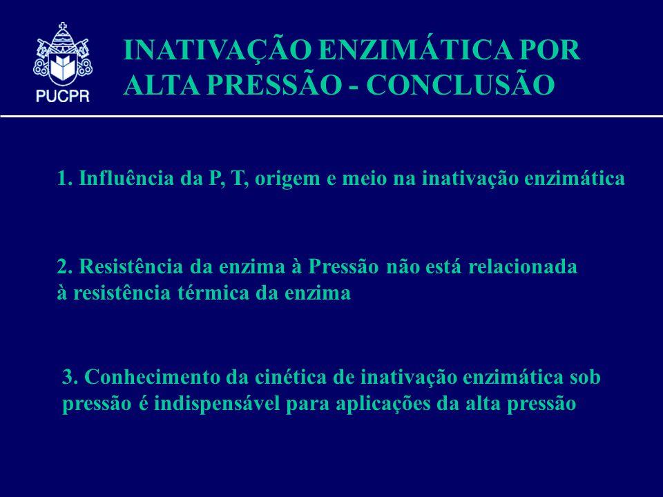INATIVAÇÃO ENZIMÁTICA POR ALTA PRESSÃO - CONCLUSÃO 1. Influência da P, T, origem e meio na inativação enzimática 2. Resistência da enzima à Pressão nã
