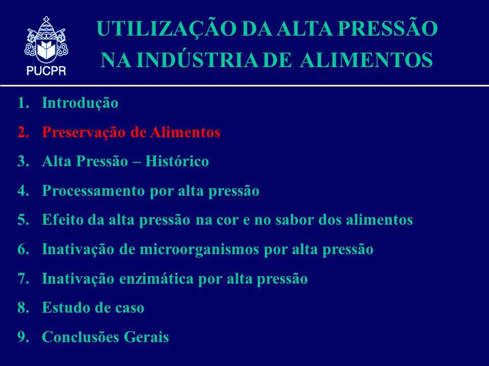 UTILIZAÇÃO DA ALTA PRESSÃO NA INDÚSTRIA DE ALIMENTOS 1.Introdução 2.Preservação de Alimentos 3.Alta Pressão – Histórico 4.Processamento por alta press