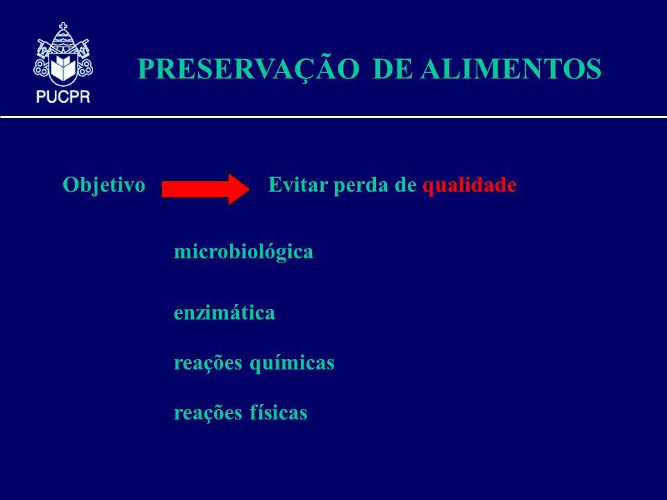PRESERVAÇÃO DE ALIMENTOS ObjetivoEvitar perda de qualidade microbiológica enzimática reações químicas reações físicas