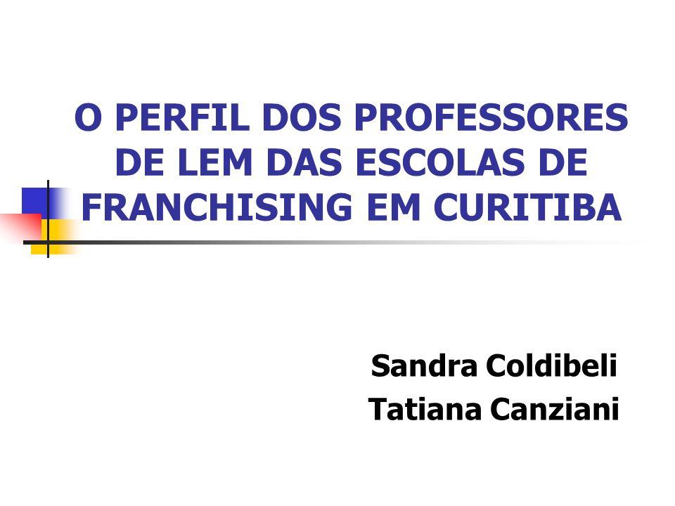 O PERFIL DOS PROFESSORES DE LEM DAS ESCOLAS DE FRANCHISING EM CURITIBA Sandra Coldibeli Tatiana Canziani