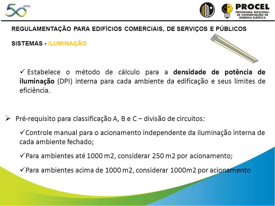 Estabelece o método de cálculo para a densidade de potência de iluminação (DPI) interna para cada ambiente da edificação e seus limites de eficiência.