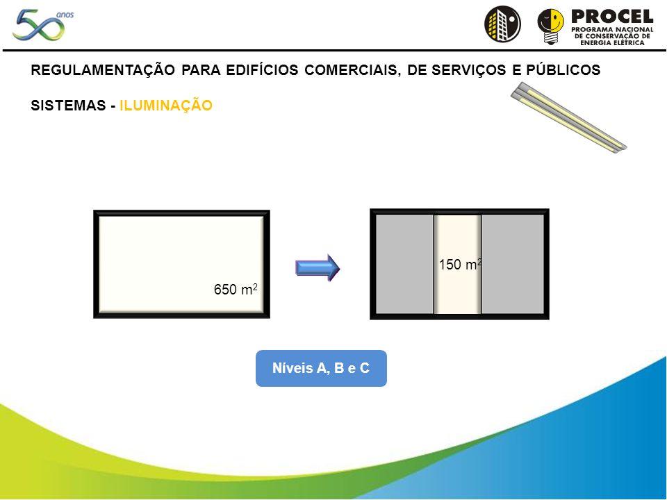 Níveis A, B e C 650 m 2 250 m 2 150 m 2 250 m 2 REGULAMENTAÇÃO PARA EDIFÍCIOS COMERCIAIS, DE SERVIÇOS E PÚBLICOS SISTEMAS - ILUMINAÇÃO