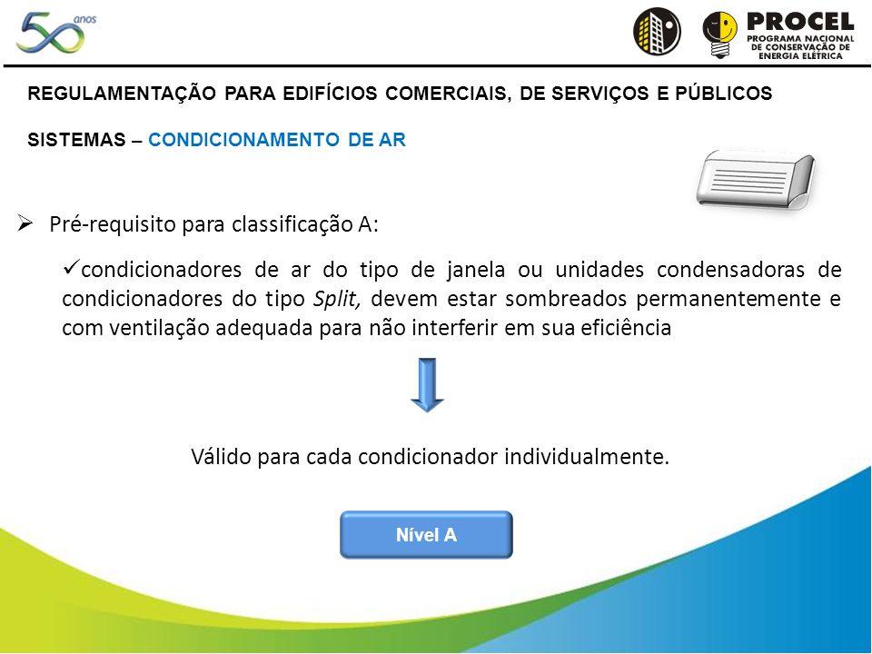 REGULAMENTAÇÃO PARA EDIFÍCIOS COMERCIAIS, DE SERVIÇOS E PÚBLICOS SISTEMAS – CONDICIONAMENTO DE AR Pré-requisito para classificação A: condicionadores