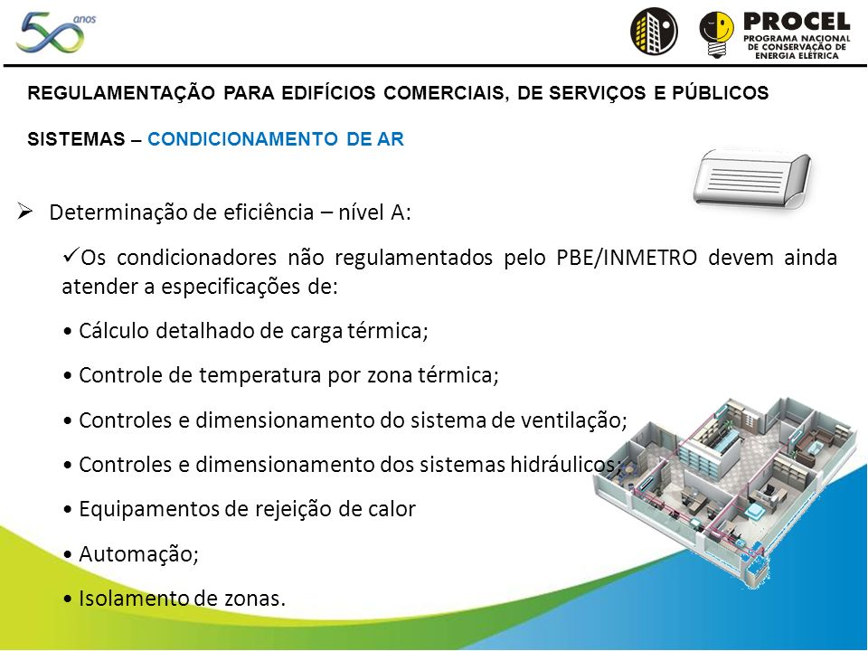 Determinação de eficiência – nível A: Os condicionadores não regulamentados pelo PBE/INMETRO devem ainda atender a especificações de: Cálculo detalhado de carga térmica; Controle de temperatura por zona térmica; Controles e dimensionamento do sistema de ventilação; Controles e dimensionamento dos sistemas hidráulicos; Equipamentos de rejeição de calor Automação; Isolamento de zonas.