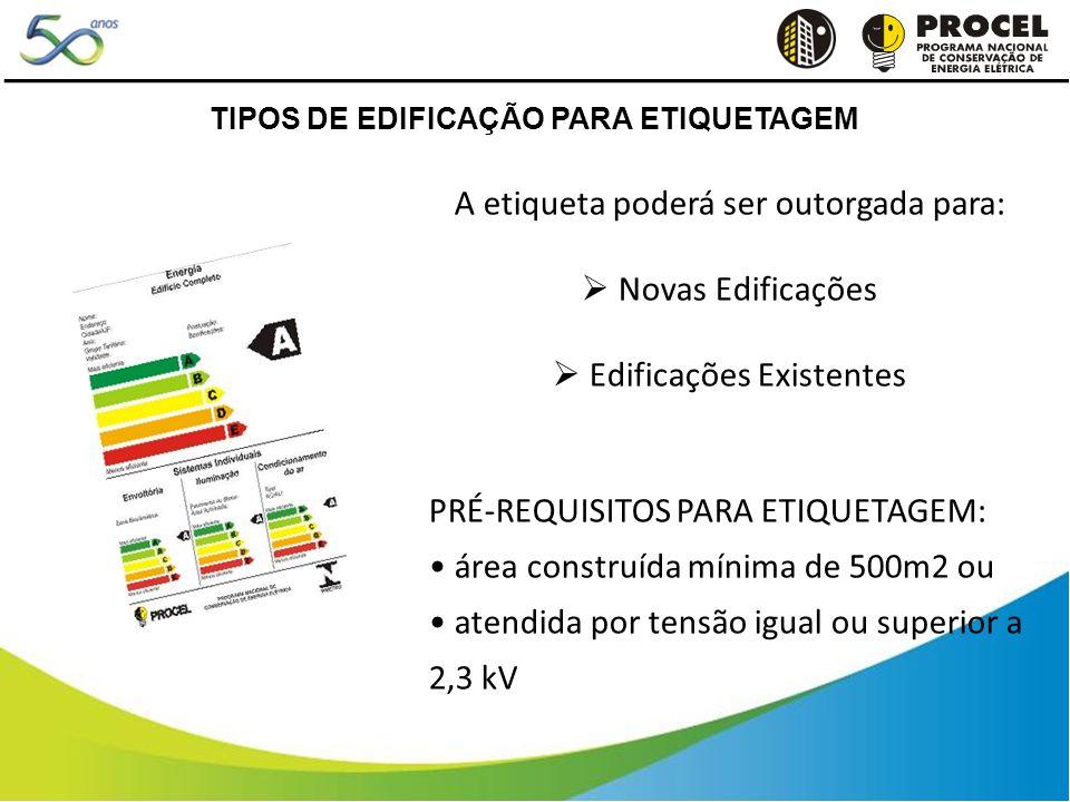 A etiqueta poderá ser outorgada para: Novas Edificações Edificações Existentes PRÉ-REQUISITOS PARA ETIQUETAGEM: área construída mínima de 500m2 ou atendida por tensão igual ou superior a 2,3 kV TIPOS DE EDIFICAÇÃO PARA ETIQUETAGEM