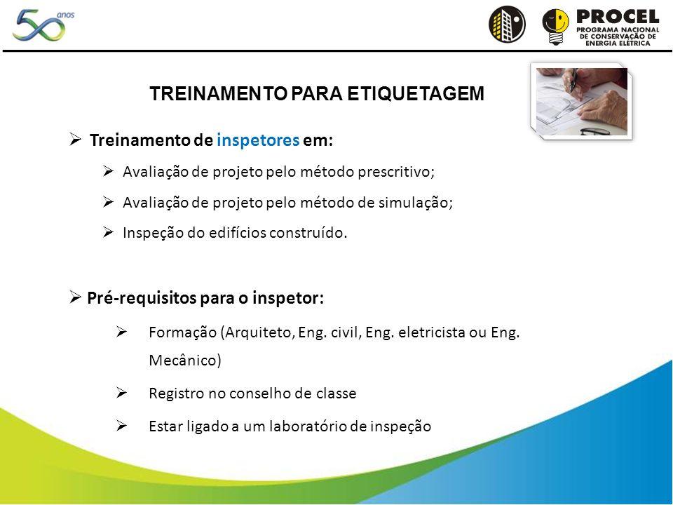 Treinamento de inspetores em: Avaliação de projeto pelo método prescritivo; Avaliação de projeto pelo método de simulação; Inspeção do edifícios construído.