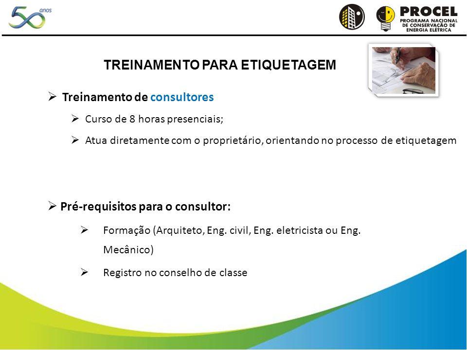 Treinamento de consultores Curso de 8 horas presenciais; Atua diretamente com o proprietário, orientando no processo de etiquetagem Pré-requisitos para o consultor: Formação (Arquiteto, Eng.