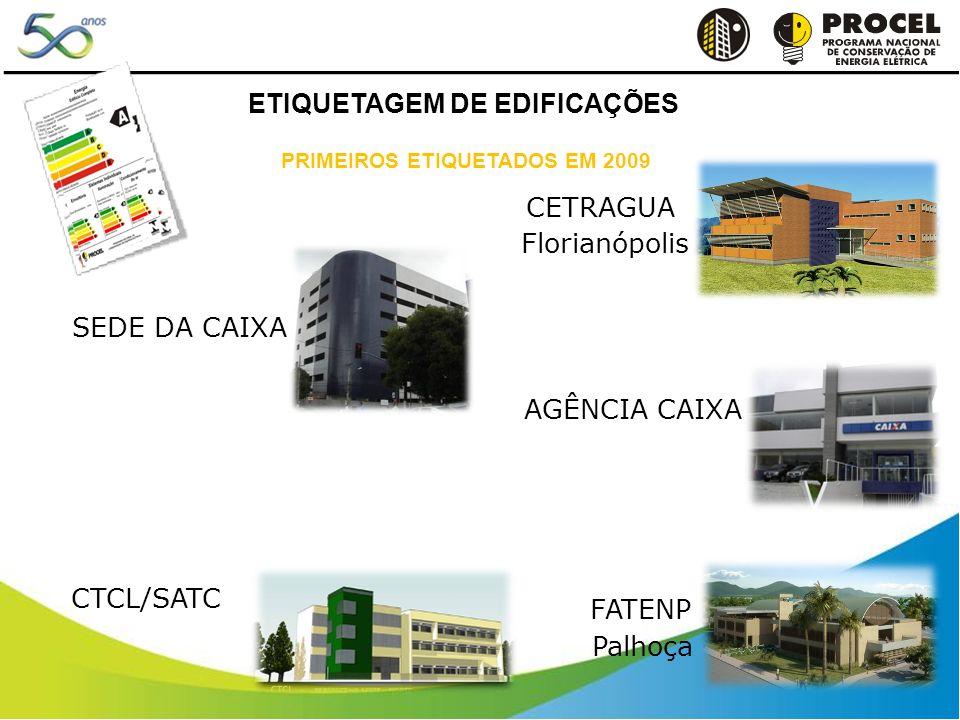 CETRAGUA Florianópolis SEDE DA CAIXA AGÊNCIA CAIXA FATENP Palhoça CTCL/SATC PRIMEIROS ETIQUETADOS EM 2009 ETIQUETAGEM DE EDIFICAÇÕES
