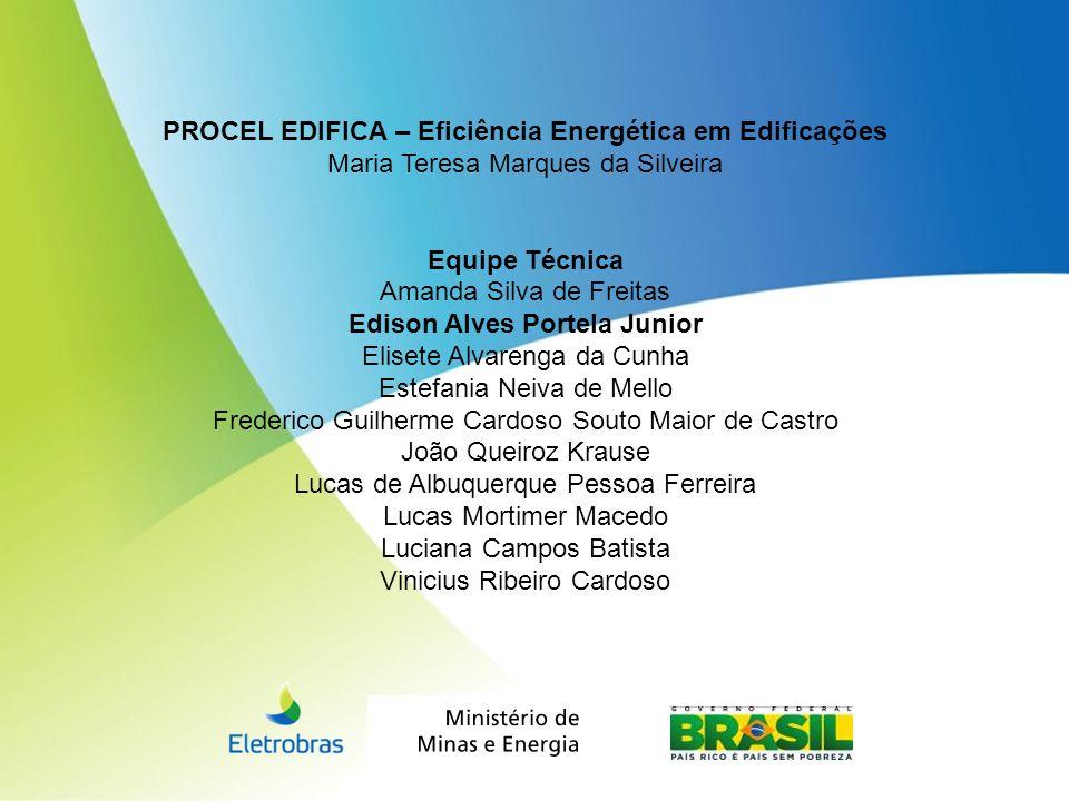 PROCEL EDIFICA – Eficiência Energética em Edificações Maria Teresa Marques da Silveira Equipe Técnica Amanda Silva de Freitas Edison Alves Portela Jun