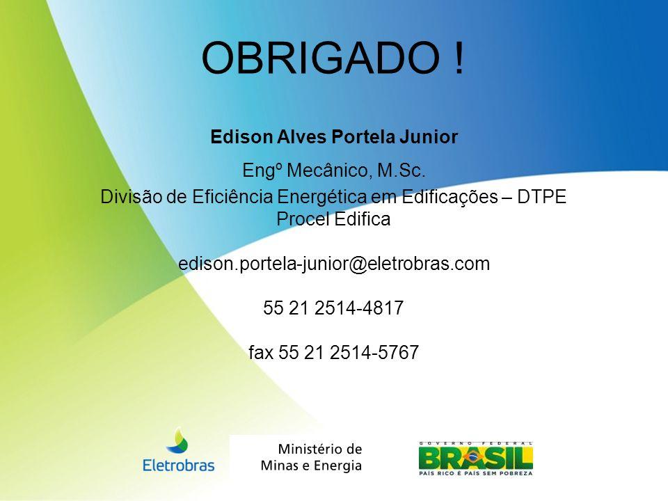 Edison Alves Portela Junior Engº Mecânico, M.Sc. Divisão de Eficiência Energética em Edificações – DTPE Procel Edifica edison.portela-junior@eletrobra