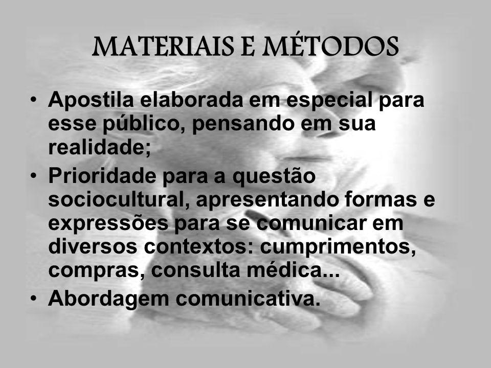 MATERIAIS E MÉTODOS Apostila elaborada em especial para esse público, pensando em sua realidade; Prioridade para a questão sociocultural, apresentando