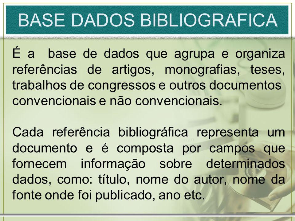 BASE DADOS BIBLIOGRAFICA É a base de dados que agrupa e organiza referências de artigos, monografias, teses, trabalhos de congressos e outros document