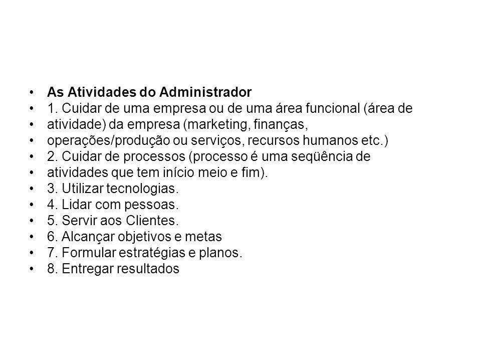 As Atividades do Administrador 1. Cuidar de uma empresa ou de uma área funcional (área de atividade) da empresa (marketing, finanças, operações/produç