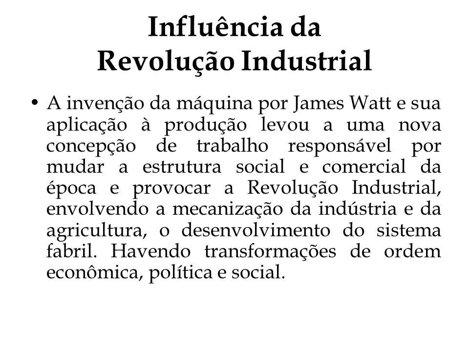 Influência da Revolução Industrial A invenção da máquina por James Watt e sua aplicação à produção levou a uma nova concepção de trabalho responsável