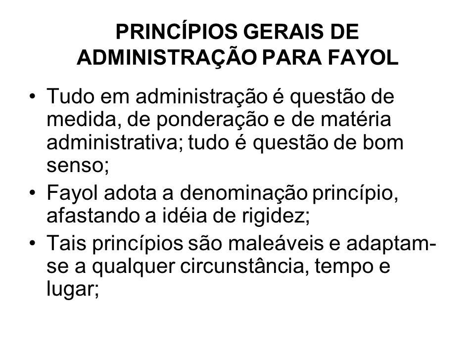 PRINCÍPIOS GERAIS DE ADMINISTRAÇÃO PARA FAYOL Tudo em administração é questão de medida, de ponderação e de matéria administrativa; tudo é questão de