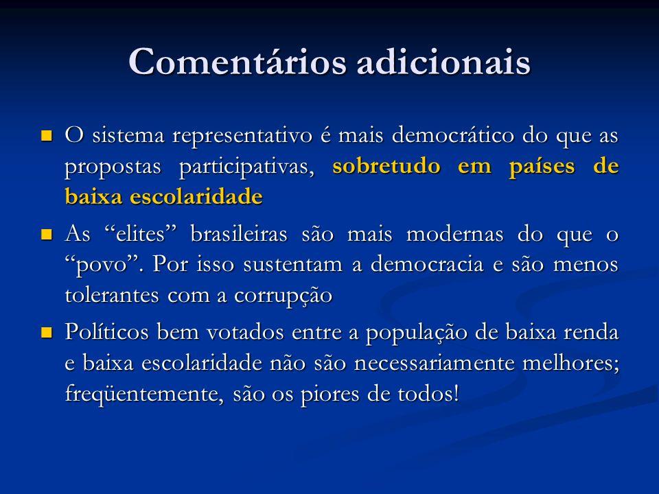 Comentários adicionais O sistema representativo é mais democrático do que as propostas participativas, sobretudo em países de baixa escolaridade O sis