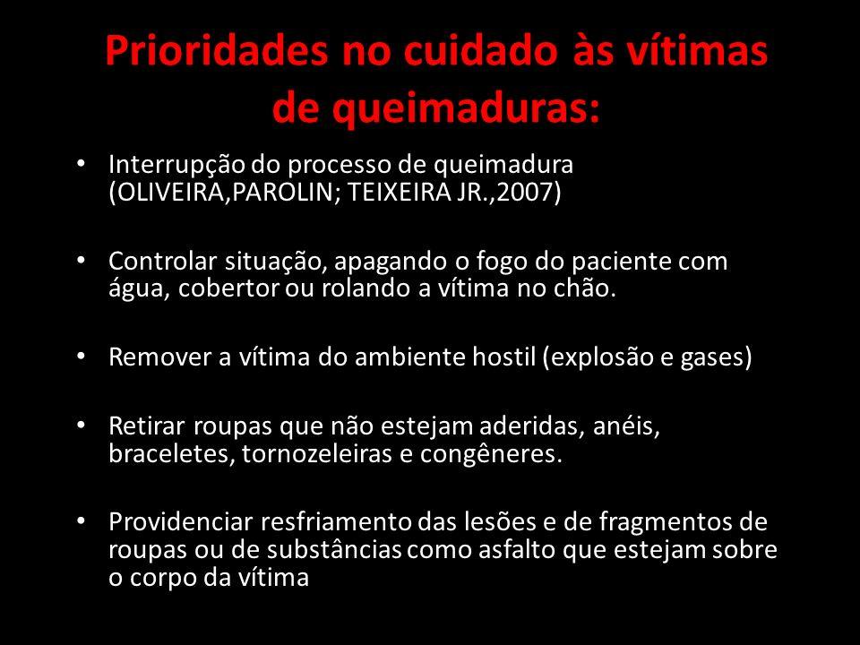 Prioridades no cuidado às vítimas de queimaduras: Interrupção do processo de queimadura (OLIVEIRA,PAROLIN; TEIXEIRA JR.,2007) Controlar situação, apag