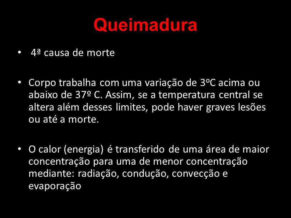 4ª causa de morte Corpo trabalha com uma variação de 3 o C acima ou abaixo de 37º C. Assim, se a temperatura central se altera além desses limites, po