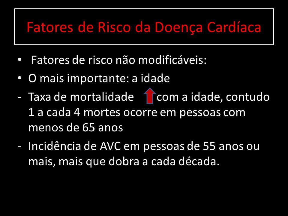 Fatores de Risco da Doença Cardíaca Fatores de risco não modificáveis: O mais importante: a idade -Taxa de mortalidade com a idade, contudo 1 a cada 4