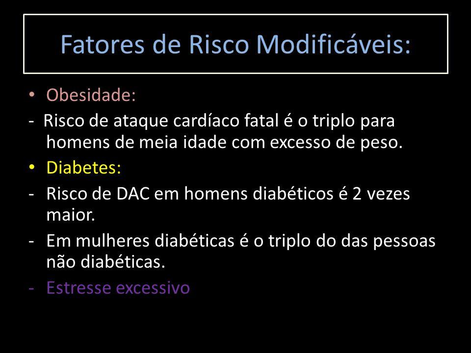 Obesidade: - Risco de ataque cardíaco fatal é o triplo para homens de meia idade com excesso de peso. Diabetes: -Risco de DAC em homens diabéticos é 2