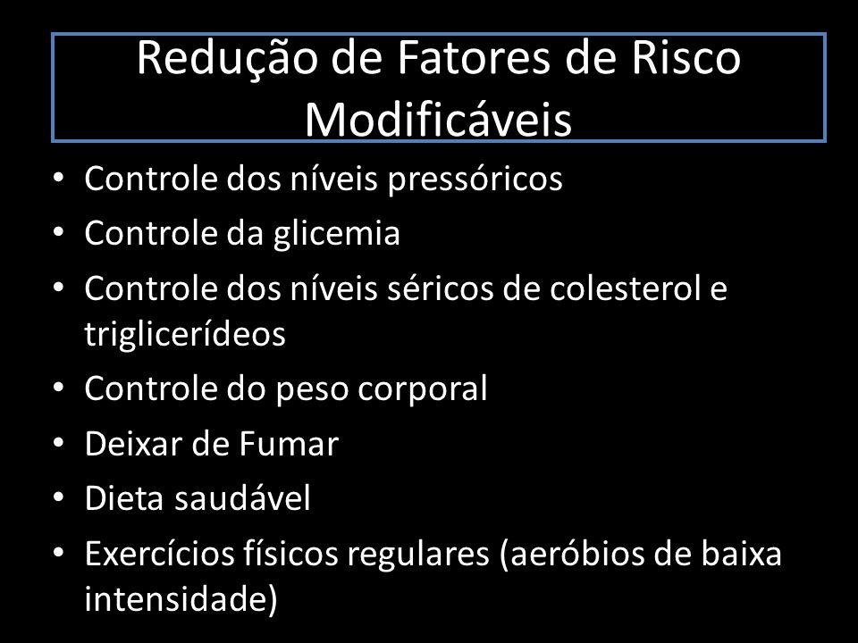 Redução de Fatores de Risco Modificáveis Controle dos níveis pressóricos Controle da glicemia Controle dos níveis séricos de colesterol e trigliceríde