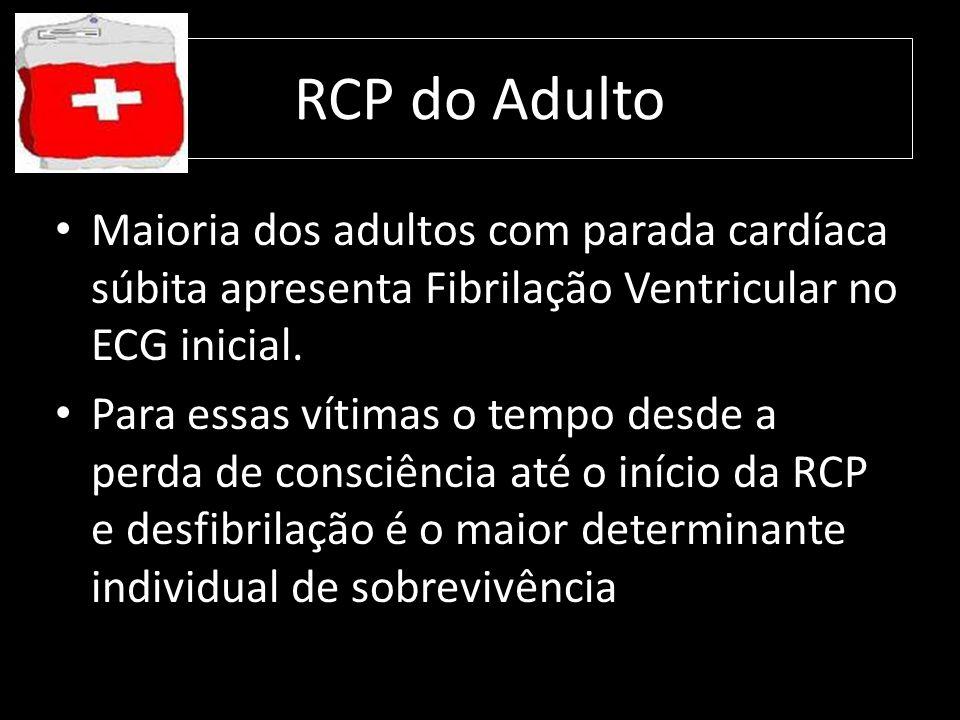 RCP do Adulto Maioria dos adultos com parada cardíaca súbita apresenta Fibrilação Ventricular no ECG inicial. Para essas vítimas o tempo desde a perda