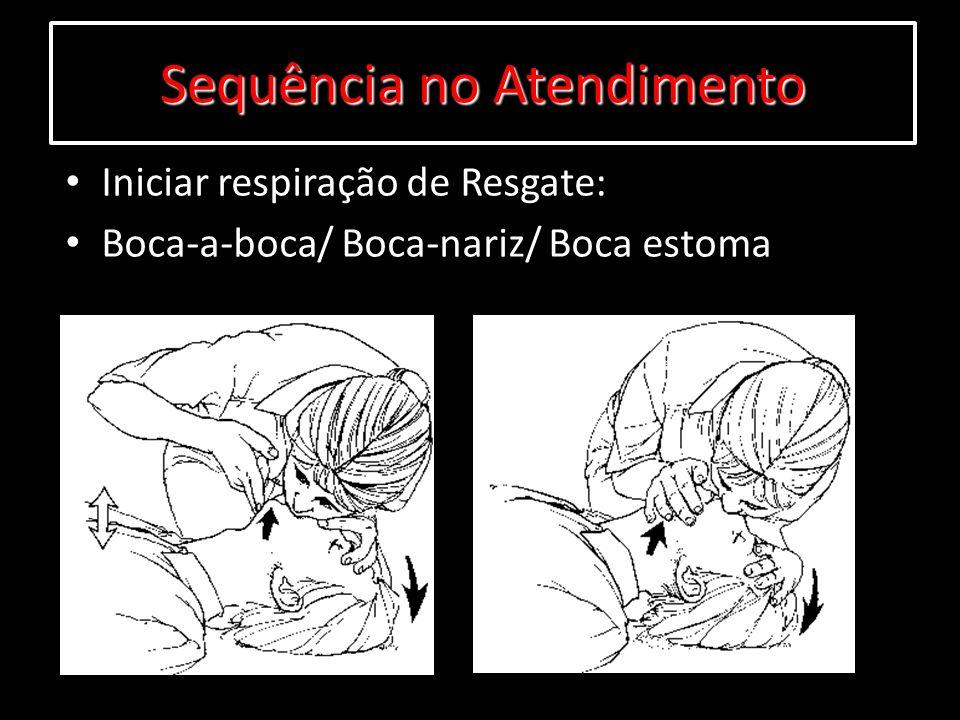 Iniciar respiração de Resgate: Boca-a-boca/ Boca-nariz/ Boca estoma Sequência no Atendimento