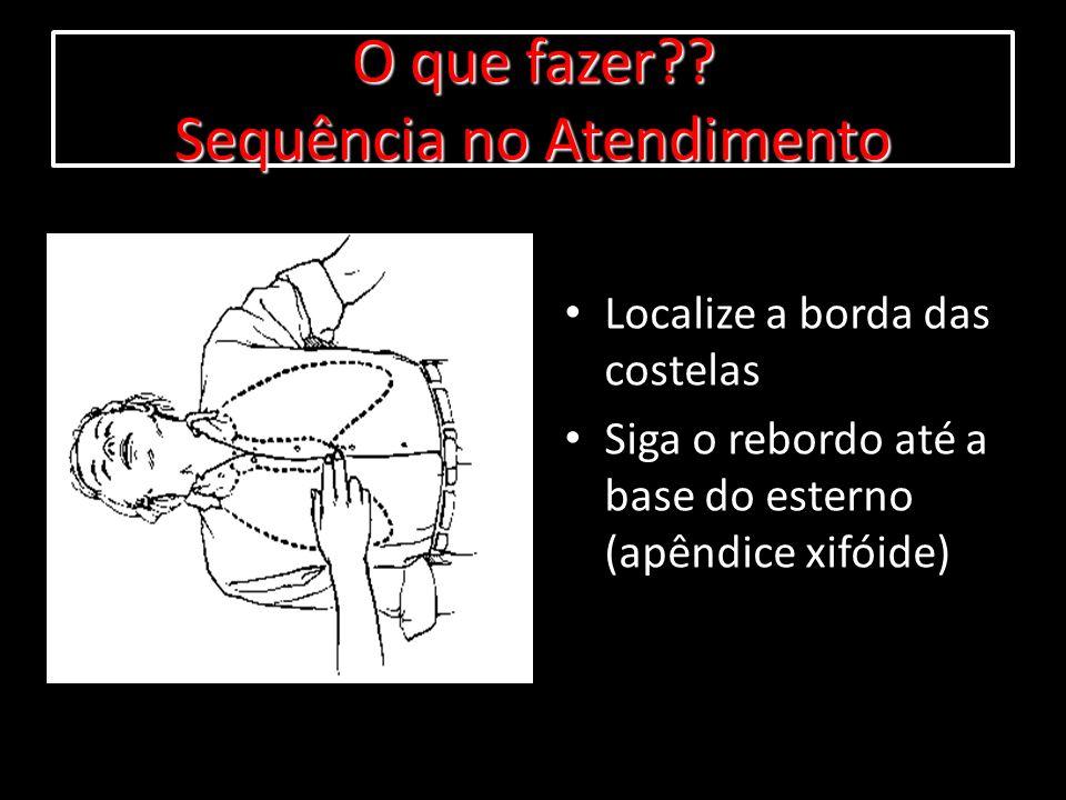 Localize a borda das costelas Siga o rebordo até a base do esterno (apêndice xifóide) O que fazer?? Sequência no Atendimento