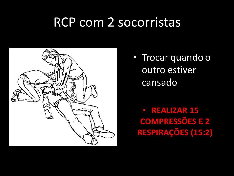RCP com 2 socorristas Trocar quando o outro estiver cansado REALIZAR 15 COMPRESSÕES E 2 RESPIRAÇÕES (15:2)
