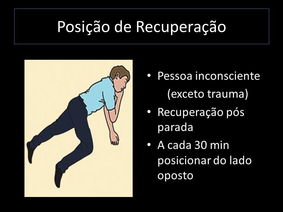 Posição de Recuperação Pessoa inconsciente (exceto trauma) Recuperação pós parada A cada 30 min posicionar do lado oposto