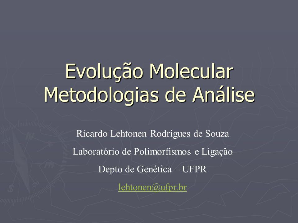 Evolução Molecular Metodologias de Análise Ricardo Lehtonen Rodrigues de Souza Laboratório de Polimorfismos e Ligação Depto de Genética – UFPR lehtone
