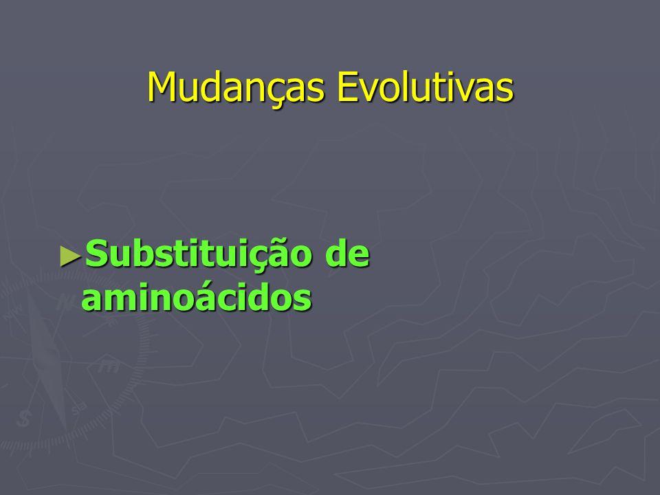 Mudanças Evolutivas Substituição de aminoácidos Substituição de aminoácidos