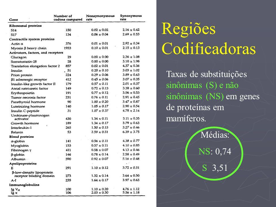 Taxas de substituições sinônimas (S) e não sinônimas (NS) em genes de proteínas em mamíferos. Médias: NS: 0,74 S: 3,51 Regiões Codificadoras