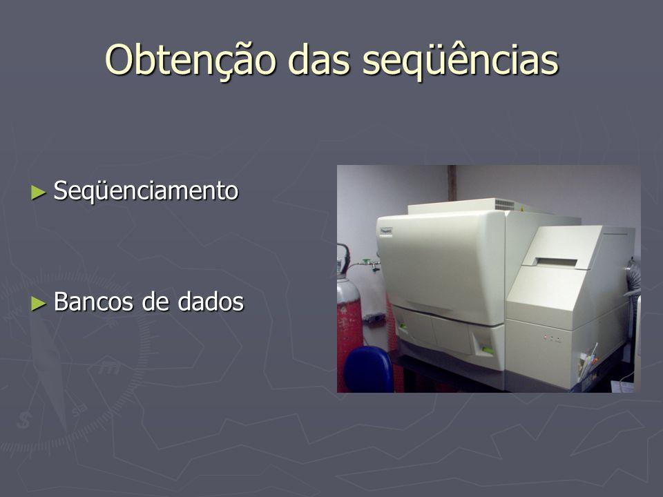 Obtenção das seqüências Seqüenciamento Seqüenciamento Bancos de dados Bancos de dados