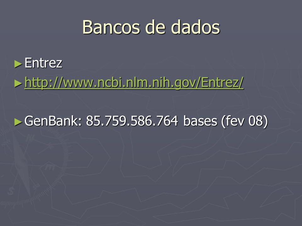 Bancos de dados Entrez Entrez http://www.ncbi.nlm.nih.gov/Entrez/ http://www.ncbi.nlm.nih.gov/Entrez/ http://www.ncbi.nlm.nih.gov/Entrez/ GenBank: 85.