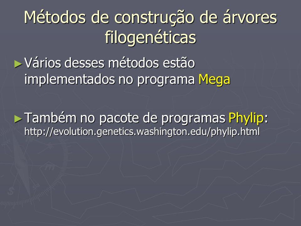 Métodos de construção de árvores filogenéticas Vários desses métodos estão implementados no programa Mega Vários desses métodos estão implementados no
