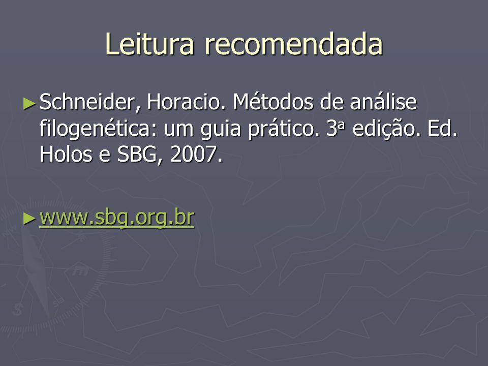 Leitura recomendada Schneider, Horacio. Métodos de análise filogenética: um guia prático. 3 a edição. Ed. Holos e SBG, 2007. Schneider, Horacio. Métod