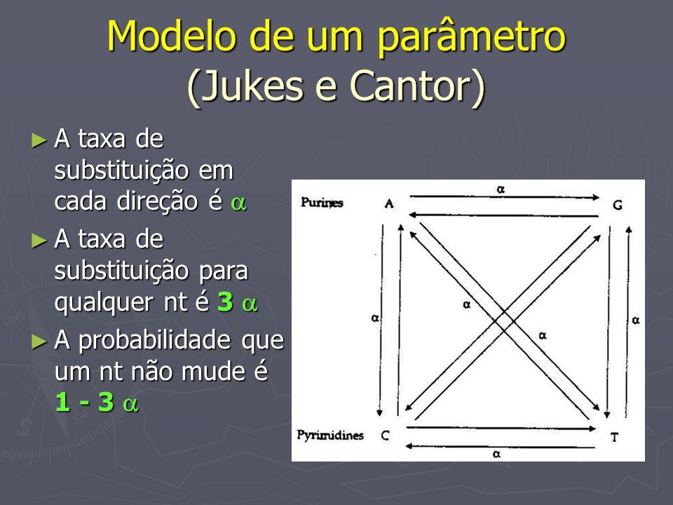 Modelo de um parâmetro (Jukes e Cantor) A taxa de substituição em cada direção é A taxa de substituição em cada direção é A taxa de substituição para