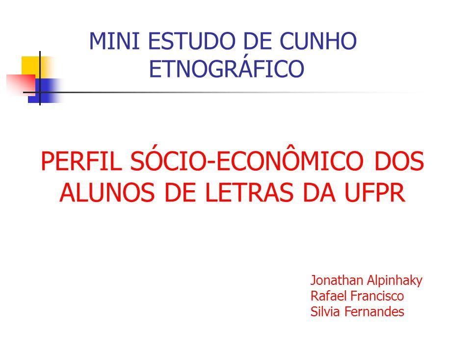 PERFIL SÓCIO-ECONÔMICO DOS ALUNOS DE LETRAS DA UFPR MINI ESTUDO DE CUNHO ETNOGRÁFICO Jonathan Alpinhaky Rafael Francisco Silvia Fernandes