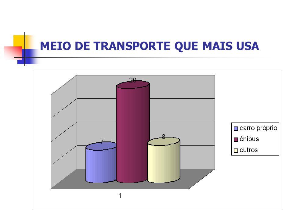 MEIO DE TRANSPORTE QUE MAIS USA