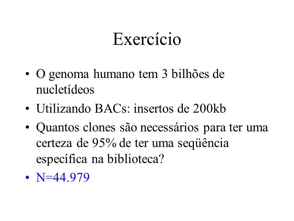 Exercício O genoma humano tem 3 bilhões de nucletídeos Utilizando BACs: insertos de 200kb Quantos clones são necessários para ter uma certeza de 95% d