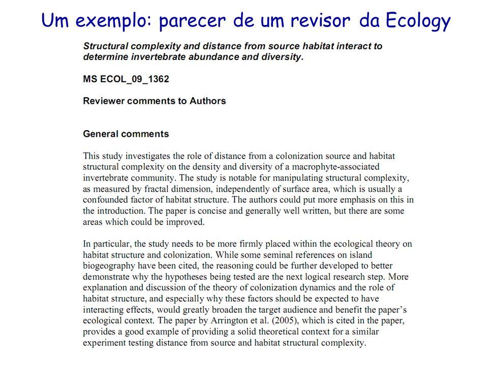 Um exemplo: parecer de um revisor da Ecology