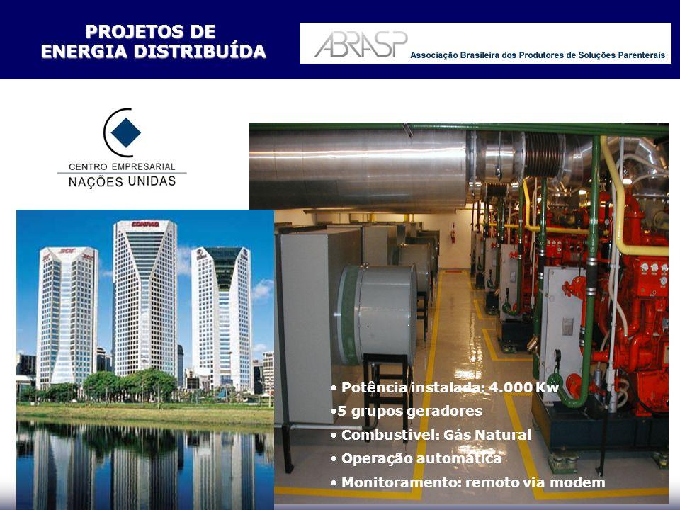 Potência instalada: 1600 kW 2 grupos geradores Operação automática Monitoramento remoto via modem Combustível: Gás Natural PROJETOS DE ENERGIA DISTRIBUÍDA ENERGIA DISTRIBUÍDA