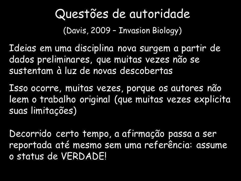 Questões de autoridade (Davis, 2009 – Invasion Biology) Ideias em uma disciplina nova surgem a partir de dados preliminares, que muitas vezes não se s