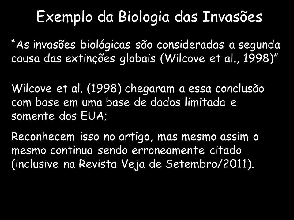 Exemplo da Biologia das Invasões As invasões biológicas são consideradas a segunda causa das extinções globais (Wilcove et al., 1998) Wilcove et al. (