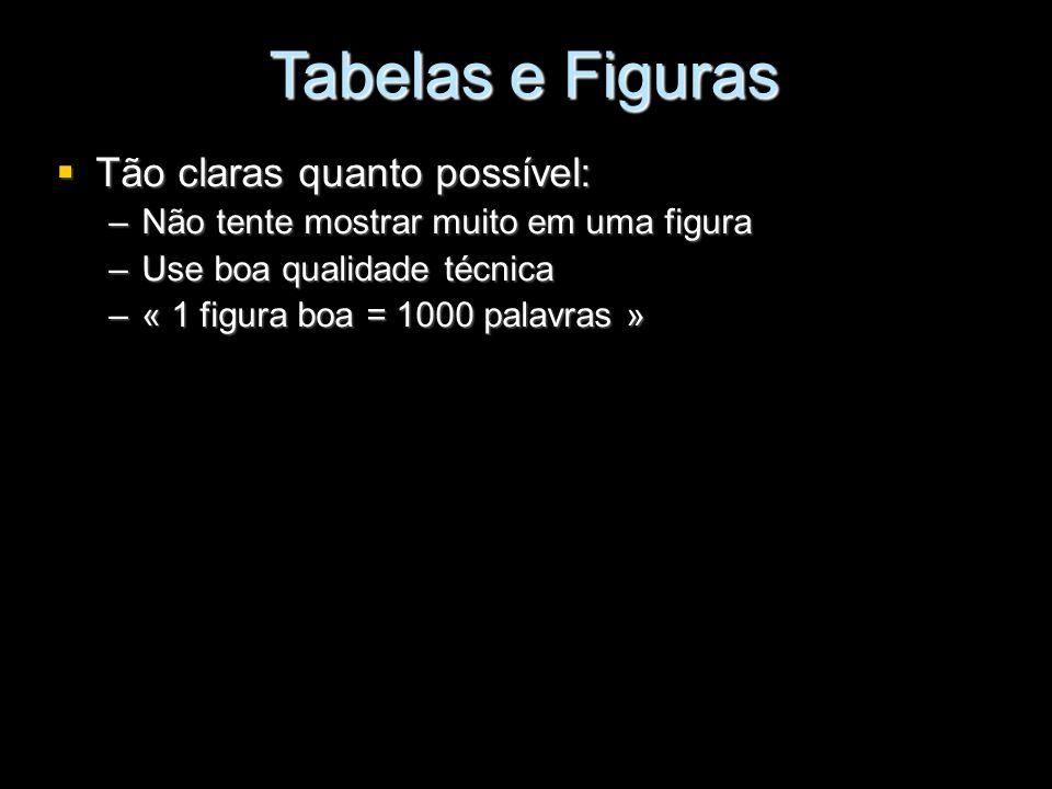 Tabelas e Figuras Tão claras quanto possível: Tão claras quanto possível: –Não tente mostrar muito em uma figura –Use boa qualidade técnica –« 1 figur
