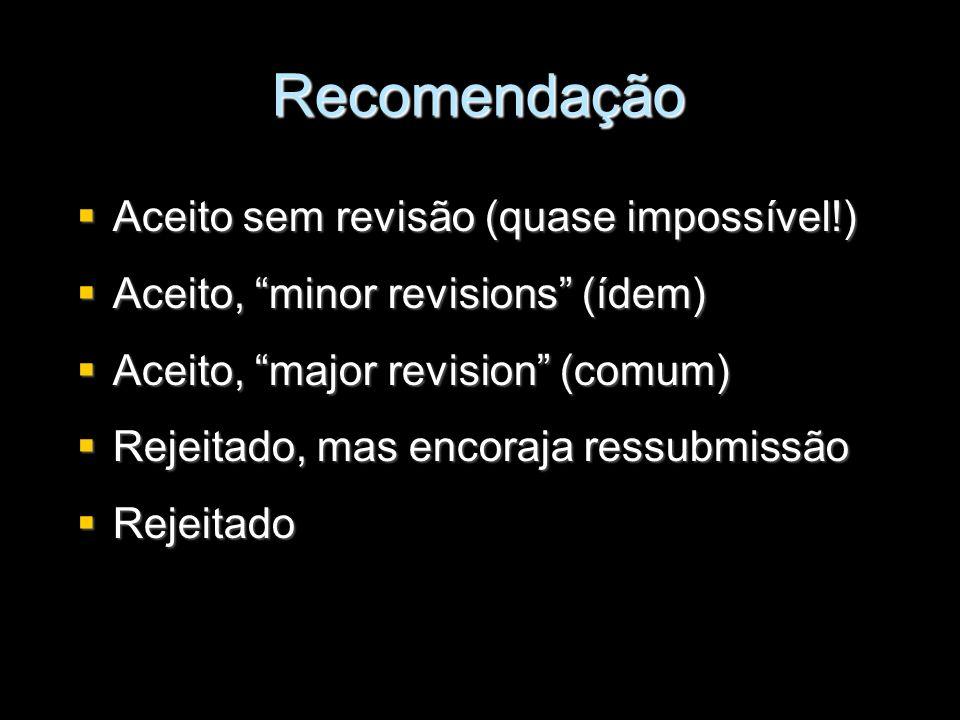 Recomendação Aceito sem revisão (quase impossível!) Aceito sem revisão (quase impossível!) Aceito, minor revisions (ídem) Aceito, minor revisions (íde