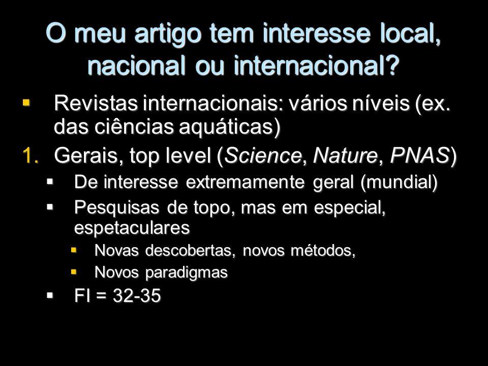 O meu artigo tem interesse local, nacional ou internacional? Revistas internacionais: vários níveis (ex. das ciências aquáticas) Revistas internaciona