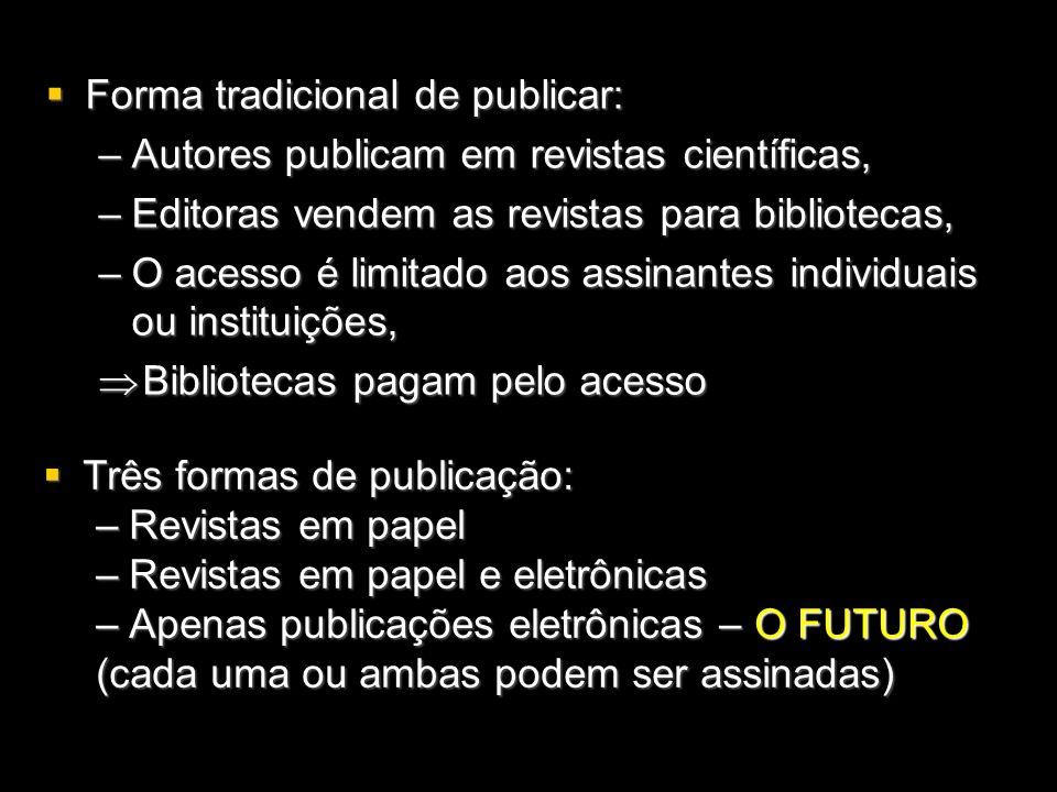 Forma tradicional de publicar: Forma tradicional de publicar: –Autores publicam em revistas científicas, –Editoras vendem as revistas para bibliotecas